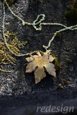 Gold Polymer Clay Maple Leaf Necklace