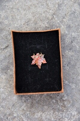 Small Red Multi-Colored polymer clay maple leaf charm