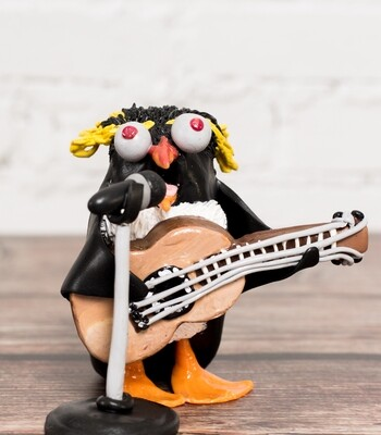 Folks Singer Penguin Sculpture with Microphone stand