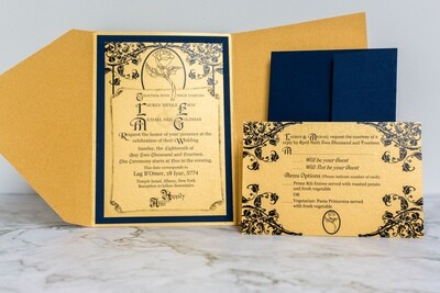 Beauty and the Beast Inspired Digital Invitation and RSVP templates on Canva, Enchanted Rose Invitations - Wedding