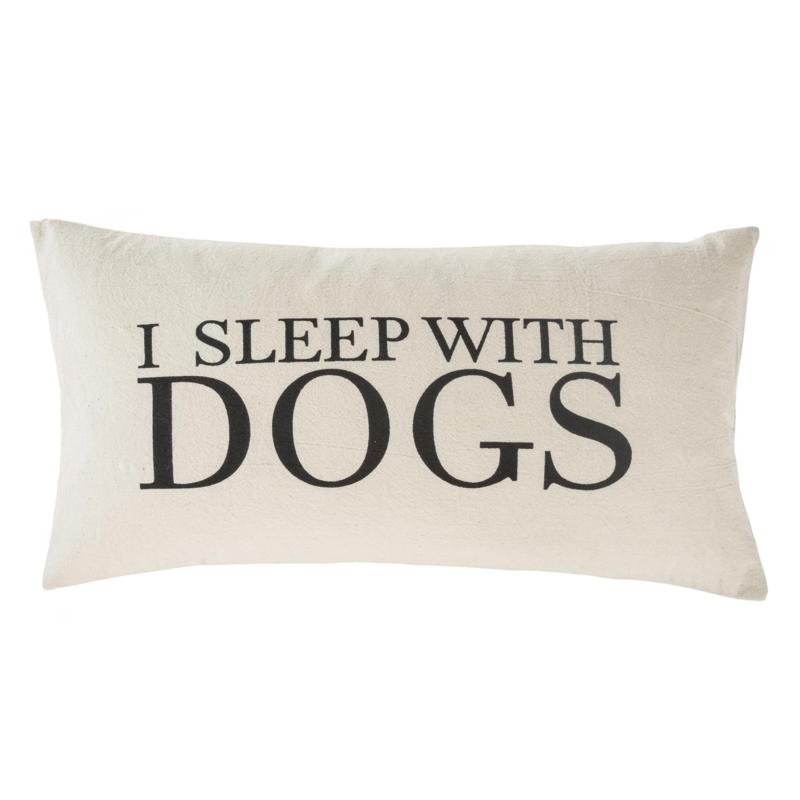 """17-8953-C I Sleep With Dogs Cushion, 21""""x12"""""""