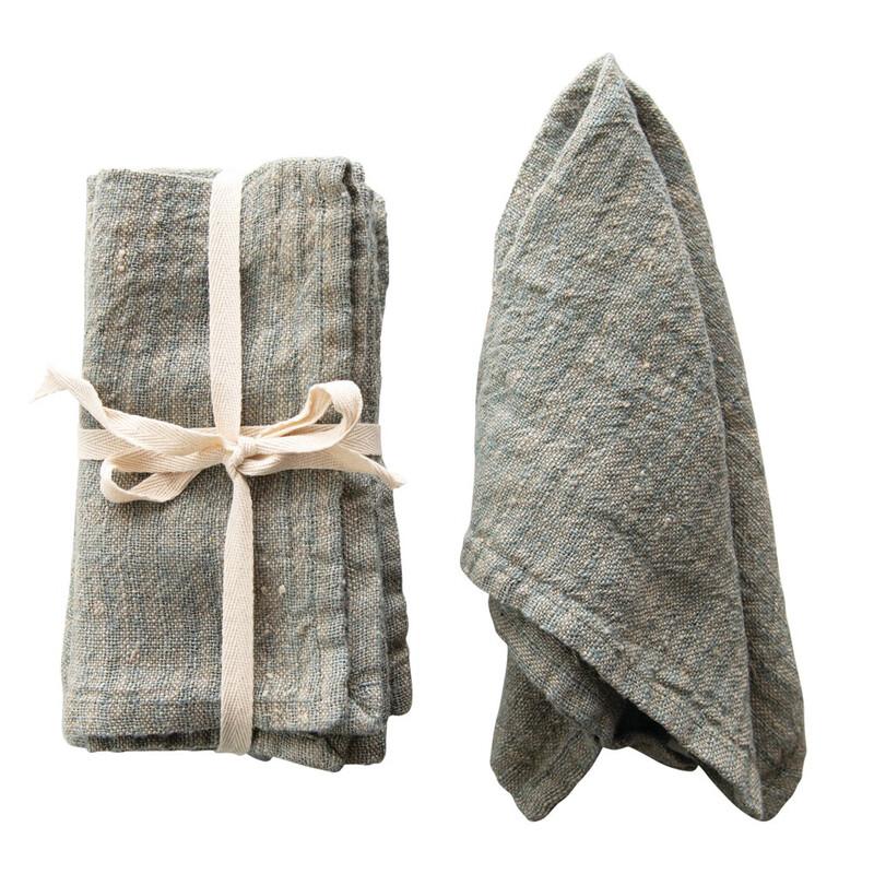 "DF3526 18"" Square Woven Striped Linen Napkin, Set Of 4"