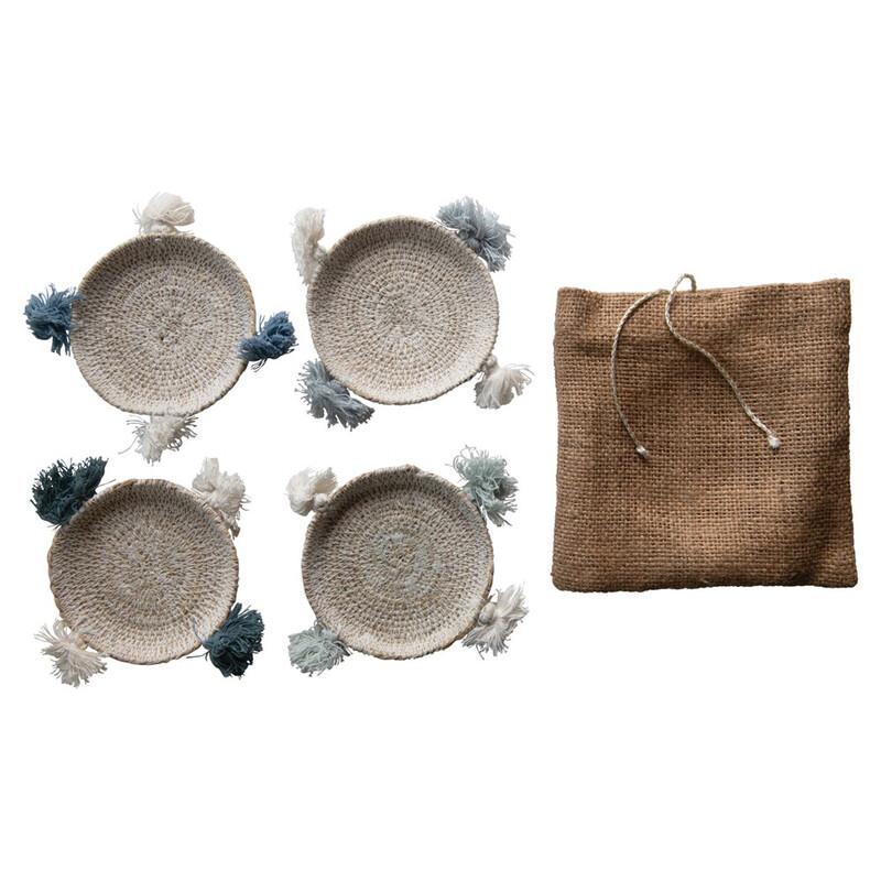 "DF3647 4"" Round Hand Woven Seagrass Coasters w Tassels Set-4"