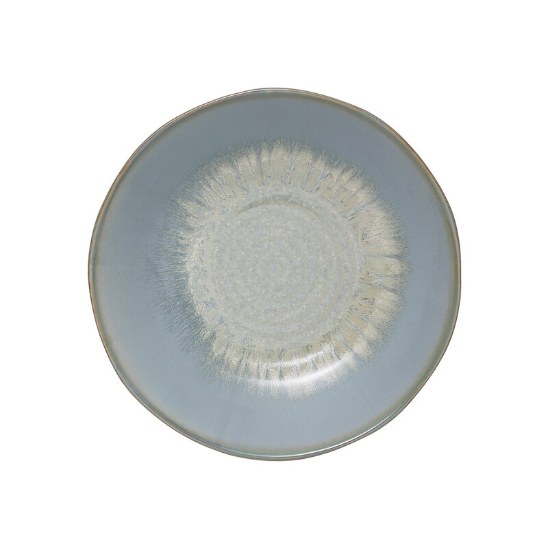 """DF2726 9"""" Round x 1-3/4""""H Porcelain Bowl, Reactive Glaze, Blue (Each One Will Vary)"""