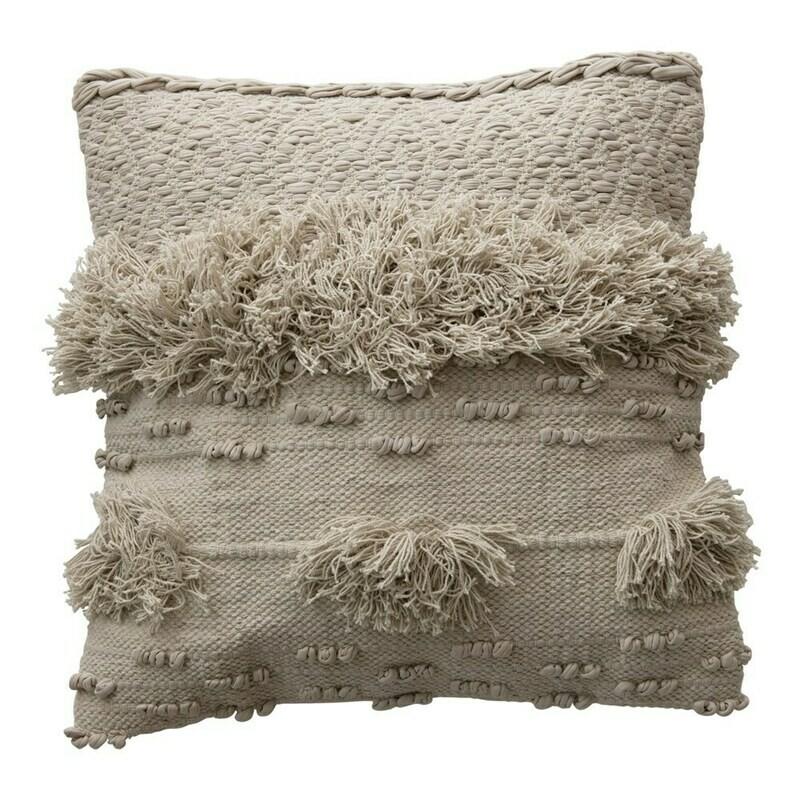 DF3619 20' Square Cotton Fringe Pillow