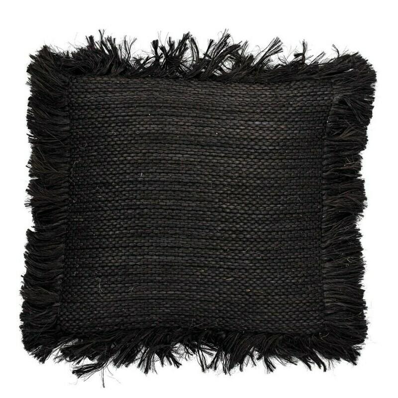DF3614 Square  Black Fringe Jute Pillow