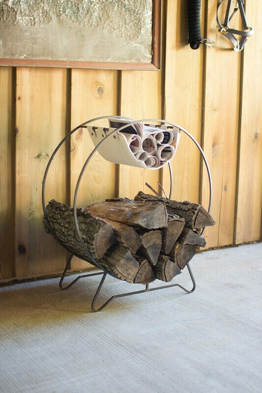 Round log holder with canvas kindling sling CQ6804