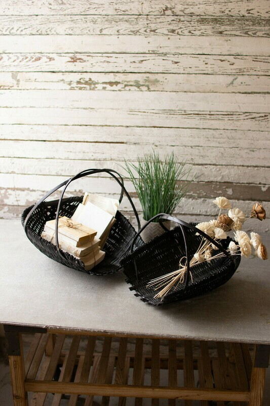 Set of two black bamboo scoop baskets CNMR1031