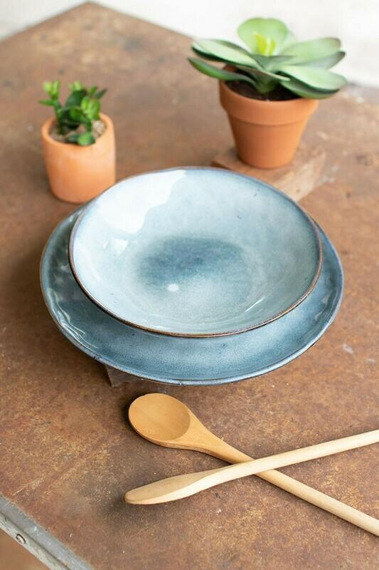 Bowl and Plate set. Blue ceramic CTE1000