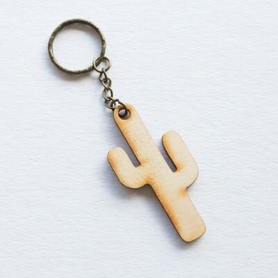 Wood Cacti Keychain