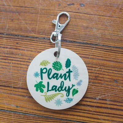 Wood Plant Lady Keychain