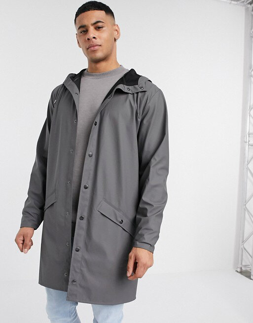 Темно-серая куртка с капюшоном Rains