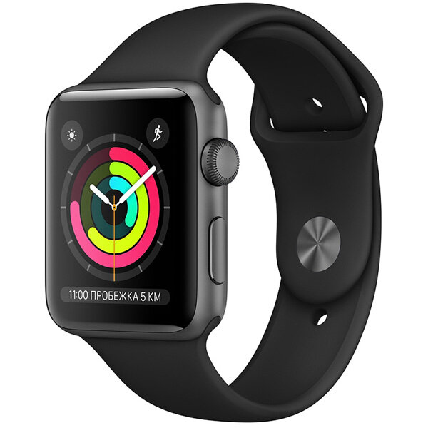 Смарт-часы Apple Watch S3 42mm Space Grey Al/Black Sport Band