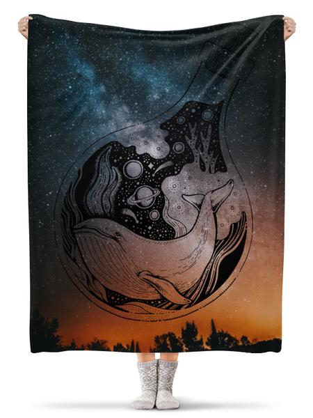 Плед флисовый 130×170 см Космический кит