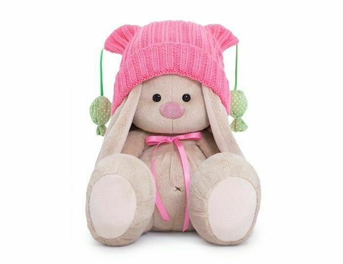 Мягкая игрушка Budi Basa Зайка Ми в розовой шапочке с помпонами 23 см