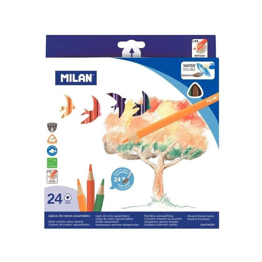 Карандаши цветные акварельные Milan 24 цвета трехгранные