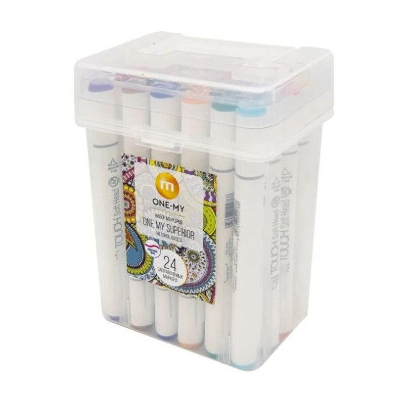 Набор маркеров для скетчинга 24 шт., на спиртовой основе, заправляемых One my Superior, перо стандартное, перо скошенное.