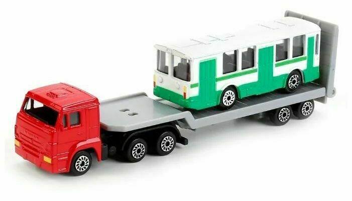 Набор машин ТЕХНОПАРК КамАЗ Автотранспортер с городским транспортом