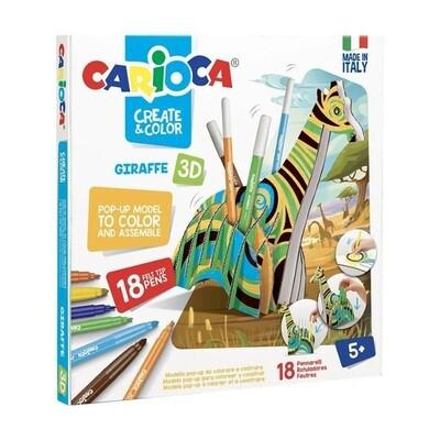 Сборная модель Carioca Раскрась и собери 3D подставка для фломастеров Жираф