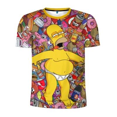 Мужская футболка 3D спортивная«Гомер»