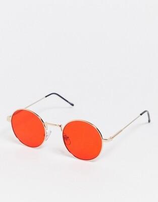Круглые солнцезащитные очки с красными стеклами Burton Menswear