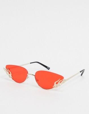Золотистые маленькие солнцезащитные очки с красными стеклами ASOS DESIGN
