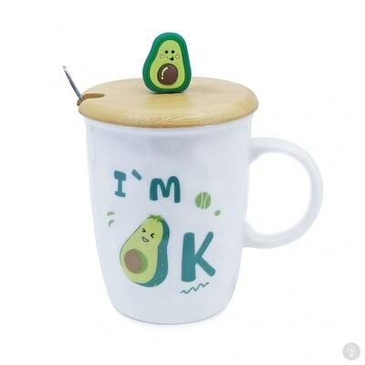 Кружка с крышкой и ложкой Авокадо I am Ok