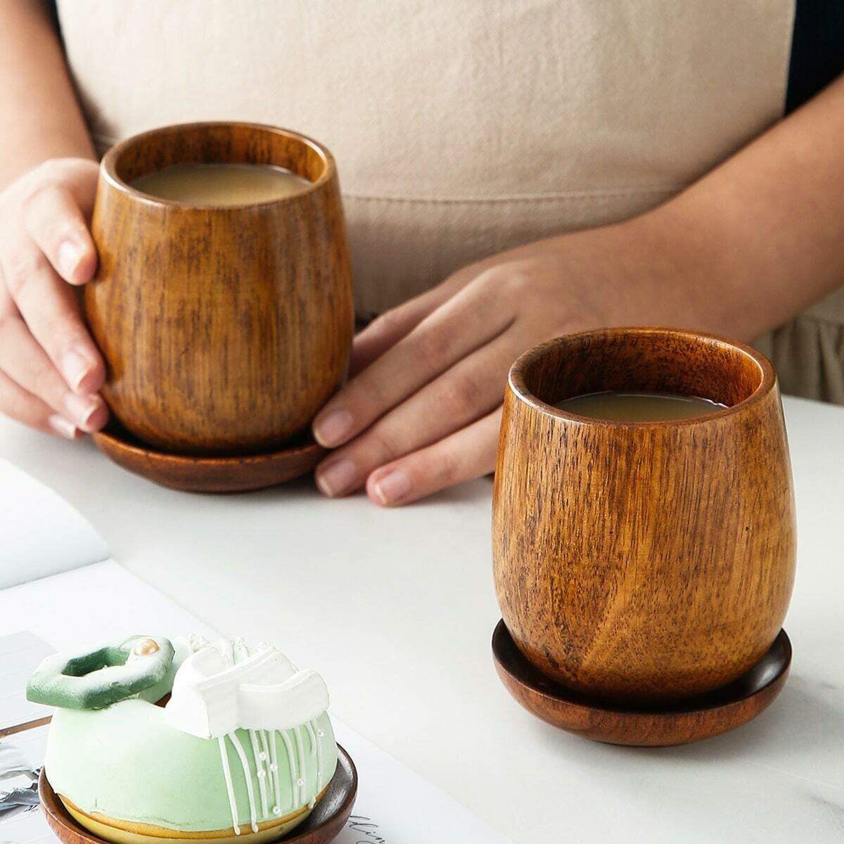 Деревянная чашка и поднос 1шт