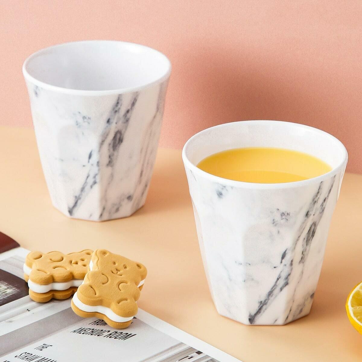 Чашка с мраморным рисунком 1шт