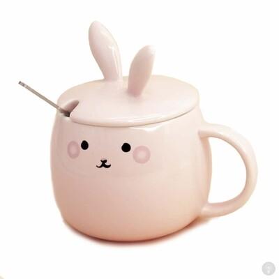 Кружка с крышкой и ложкой Розовый Кролик