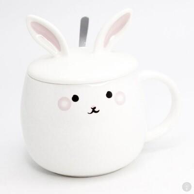 Кружка с крышкой и ложкой Белый Кролик