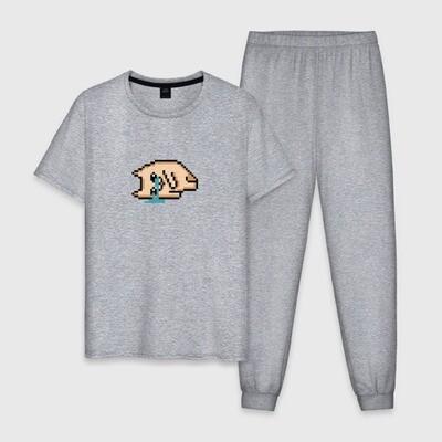 Мужская пижама хлопок «Уставший кот 2D 8 бит»