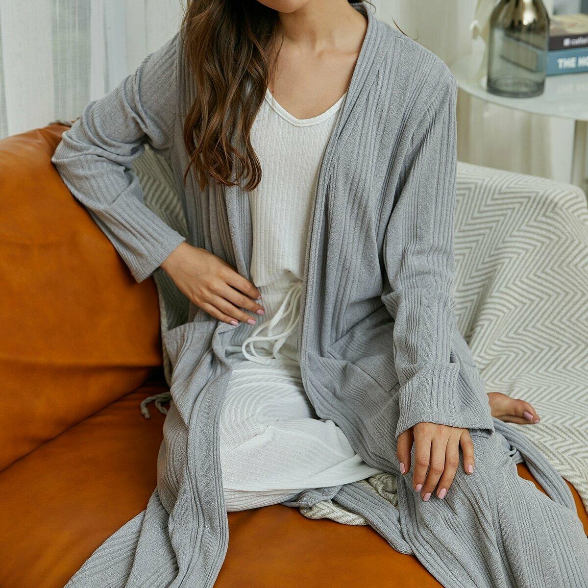 Однотонный халат с двумя карманами и поясом