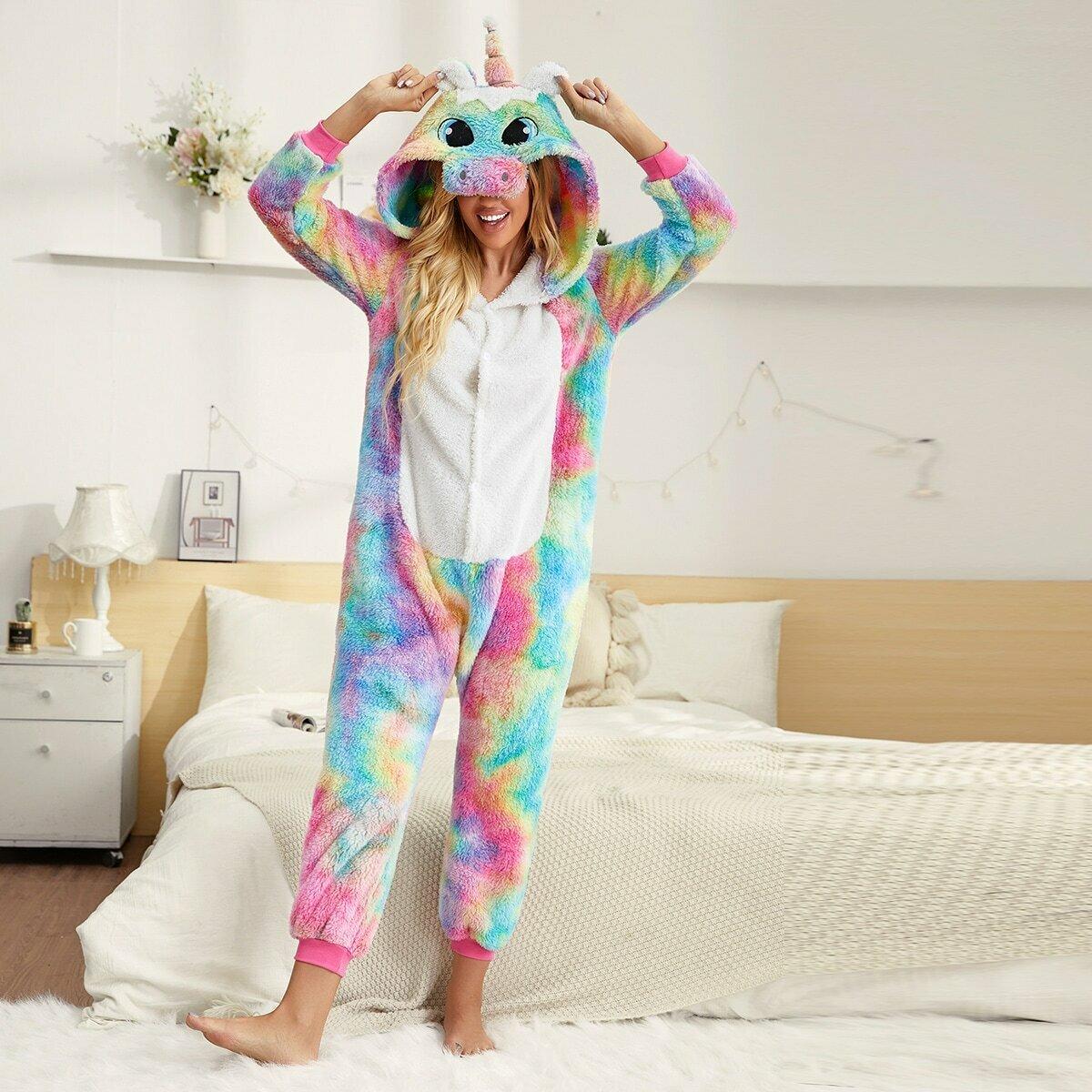 Плюшевый пижамный комбинезон с принтом