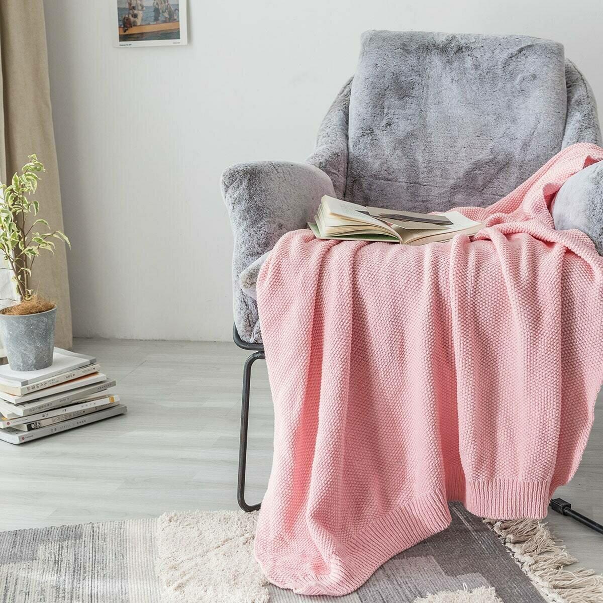 Простое вязаное одеяло