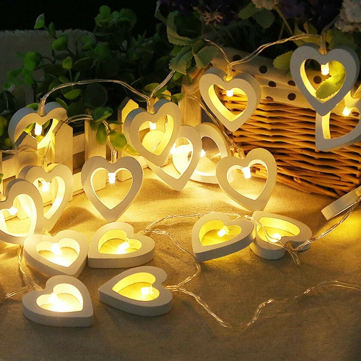 Гирлянда с лампочкой в форме сердечка 10шт