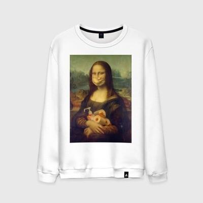 Мужской свитшот хлопок «Мона Лиза на карантине»