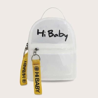 Прозрачный рюкзак с текстовым принтом