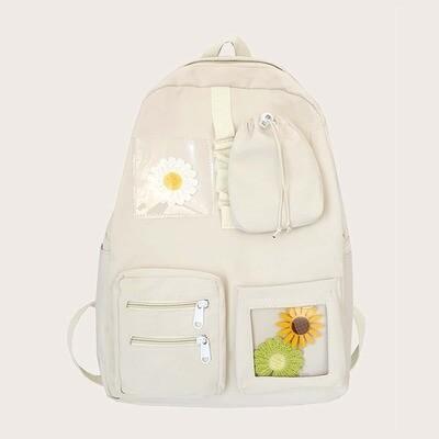 Рюкзак с карманом и декором