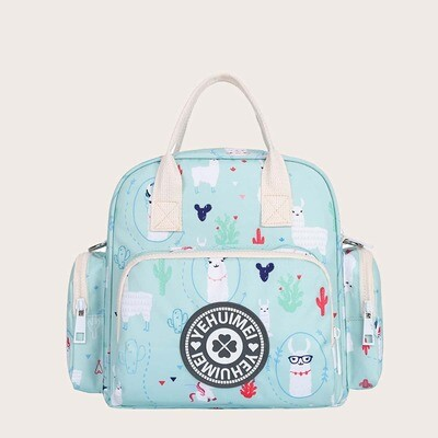 Голубой рюкзак с принтом