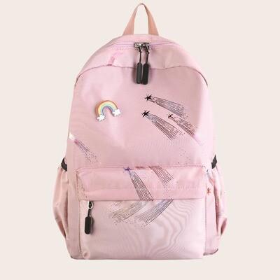 Рюкзак с карманом и мультипликационным принтом