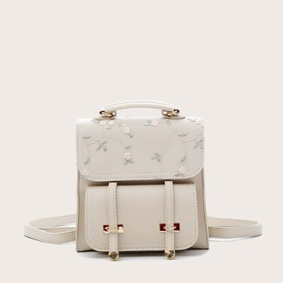 Однотонный рюкзак с вышивкой