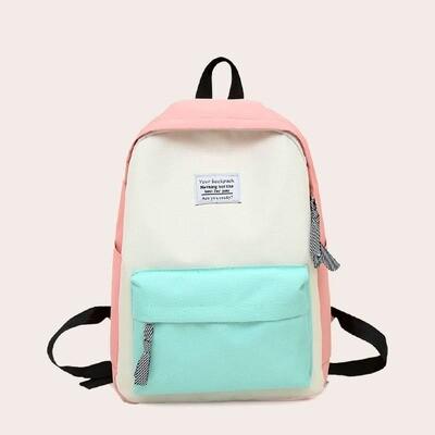 Разноцветный рюкзак с текстовой заплатой
