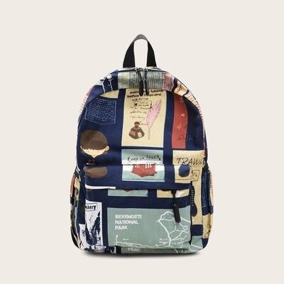 Рюкзак с карманом и принтом