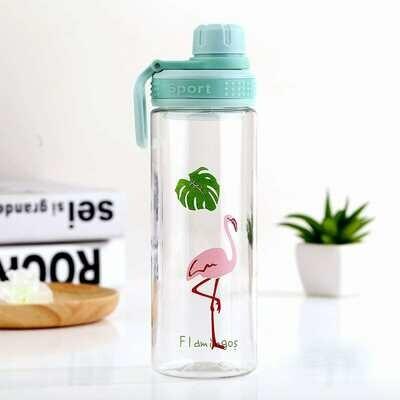 Большая бутылка для водды с принтом фламинго