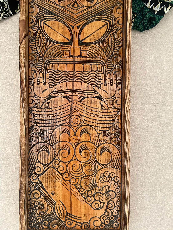 Carved Tiki plaque - Ocean (wood)