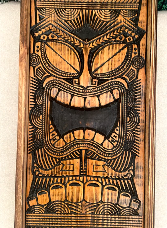 Carved Tiki plaque - First Man (wood)