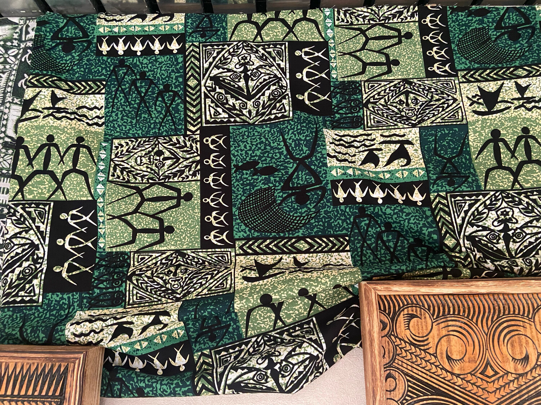 Tapa-print cloth - green