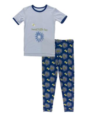 Kickee Pants Bamboo Short Sleeve Pajama Set in Navy Cornflower and Bee