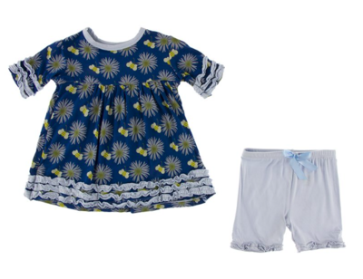 Kickee Pants Bamboo Short Sleeve Babydoll Outfit Set in Navy Cornflower and Bee